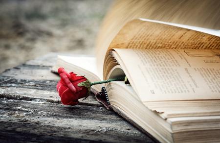 장미와 나무 책상에 닫힌 책 스톡 콘텐츠