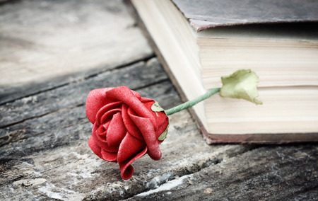 closed book on wood desk with rose photo