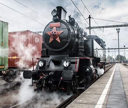 steam locomotive on the tracks (made in the Czech Republic 1948 - Matej, number 433002) photo