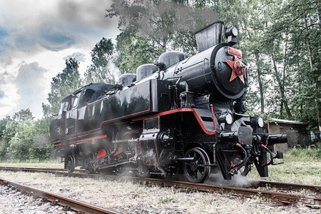 steam locomotive on the tracks (made in the Czech Republic 1948 - Matej, number 433002)
