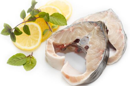 two slices of the Sturgeon (disambiguation) with lemon Stock Photo