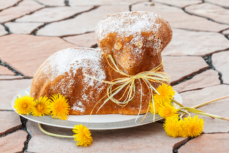 Czech Easter - baked lamb with powdered sugar and dandelions
