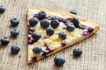 piece of sweet pie with blueberry named Wallachian Frgal. Vlachs typical cakes, baked in Valassko area, Czech Republic