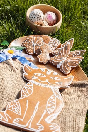decorated gingerbread - cat on a wooden plate with sackcloth lying in the grass outside with decorative Daisy