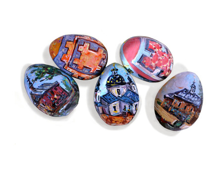 Hand painted Easter eggs on a white background