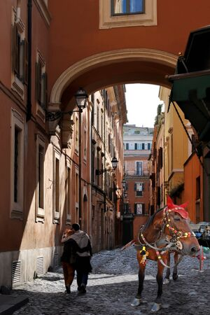 Ancient small street of Rome. Stock Photo