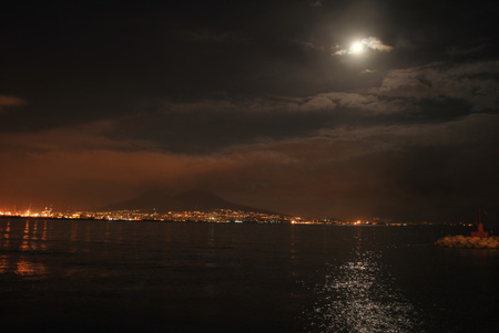 Night sea landscape of the Bay of Naples in case of moonlight. Stock Photo