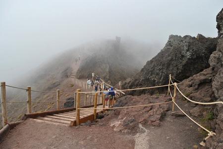 Expedition researches the Italian volcano Vesuvius. Stock Photo