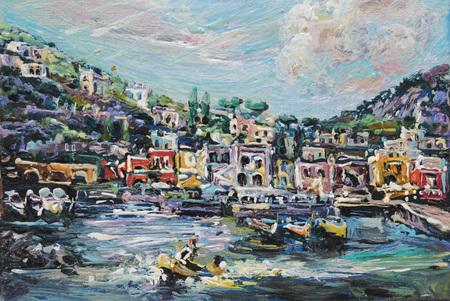 My authors original representation of Capri oil on a canvas.