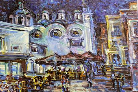 The original authors image of the Italian night Capri oil on a canvas.