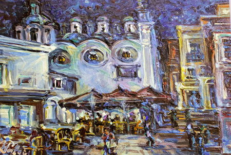 The original authors image of the Italian night Capri oil on a canvas.