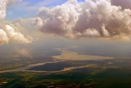 View of the river flowing into the sea from height.