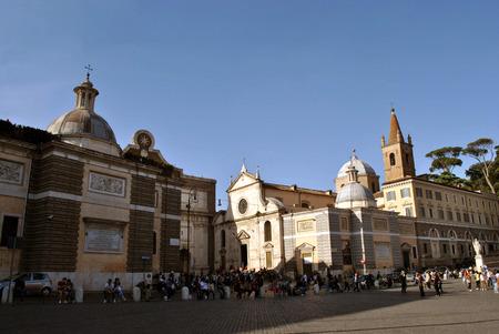 Beautiful historical Piazza Del Poppolo at Rome.