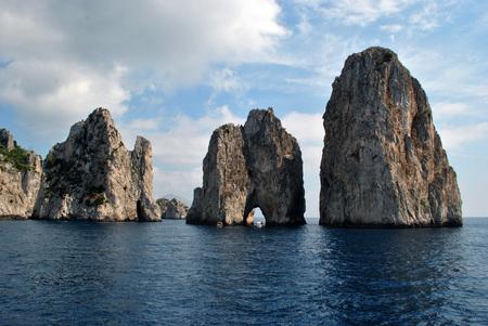 The is natural rocks called Faraioni at italian Capri Stock Photo