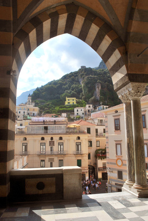 View of the Amalfi coast from the observation deck of a St Andrea cathedral