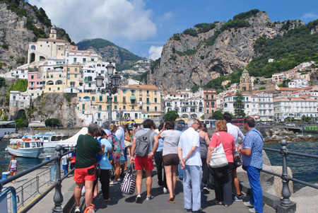 The tourist group have visit summer Amalfy