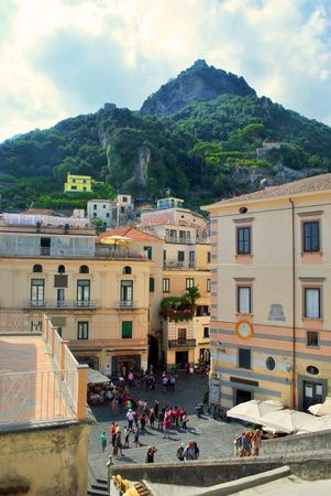 The historic center of the Italian Amalfi during summer heat Stock Photo