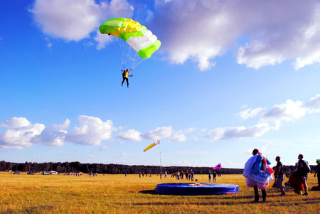 Preparation and training of pupils for parachute jumps. Stock Photo