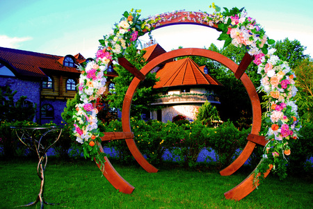 Design installation from a tree and colors for decoration of celebrations.
