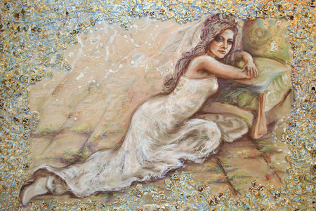 The authors original image of the bride like symbol of love and spring on paper, pastel.