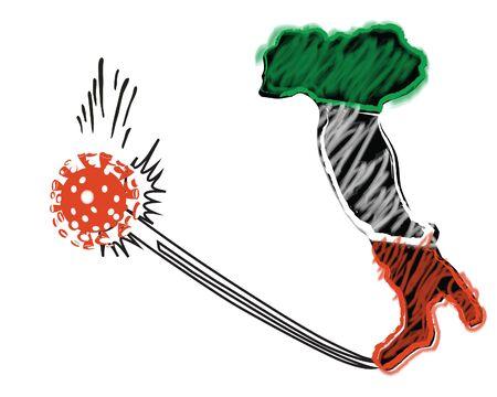 Un'immagine simbolica dell'Italia, fatta al tipo di stile murale, che vince la guerra con un nuovo virus covid19.