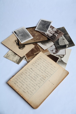 archives: Old photos and notebook Stock Photo