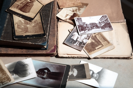 old photo album: Old photos and books.
