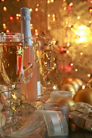 home decorated: Champagne in glasses,gifts and candlelights.