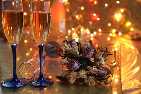 Champagne and flowers. photo
