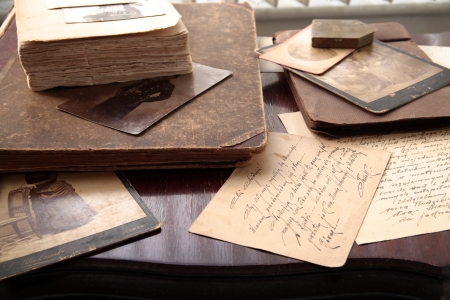 ancestry: Old books, letters and  photos  Stock Photo