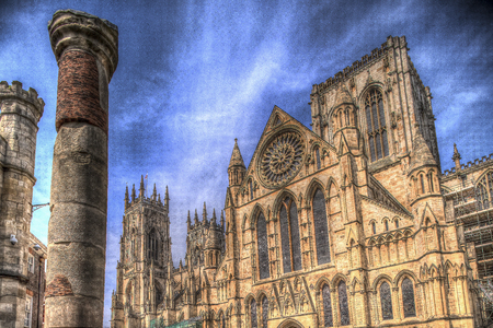 york minster: York Minster Cathedral and Roman Column. Stock Photo