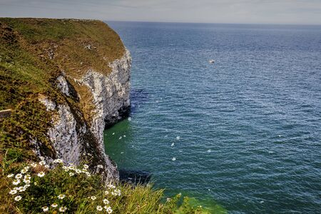 Cliffs of Flamborough coast, Yorkshire, Great Britain.