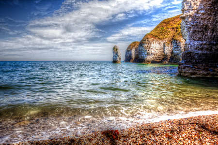 View of Flamborough cliffs from North Sea coast. Yorkshire, Great Britain