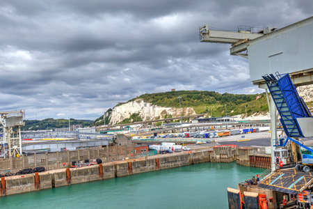 View of cliffs and port of Dover, Great Britain. Фото со стока