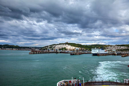 View of Dover port from the ferry to Dunkirk. Great Britain.