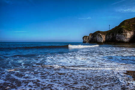 View of North Sea coast in Flamborough, Great Britain.