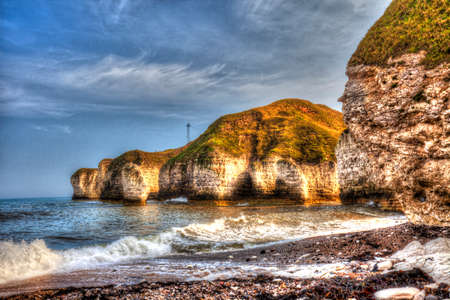 View of North Sea coast in Flamborough, Yorkshire.