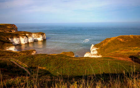 View of North Sea coast and cliffs in Flamborough, Yorkshire, Great Britain.