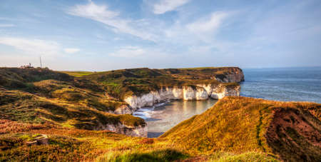 View of North Sea coast in Flamborough, Yorkshire, Great Britain.