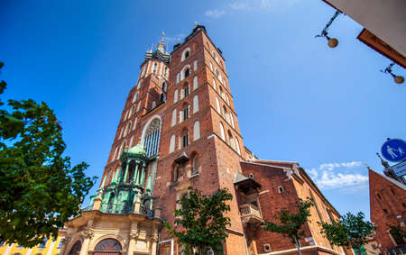 View of  Marys church tower in Krakow, Poland