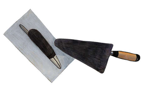 illustration in colored pencil tool on a white background and a smoothing trowel Stock Photo