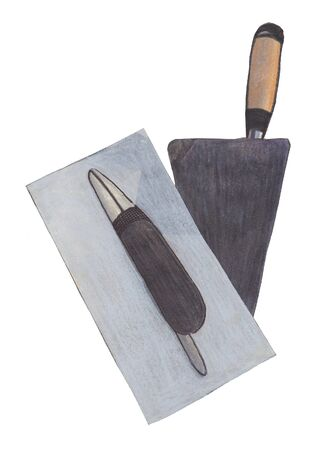 smoother: illustration in colored pencil tool on a white background and a smoothing trowel Stock Photo