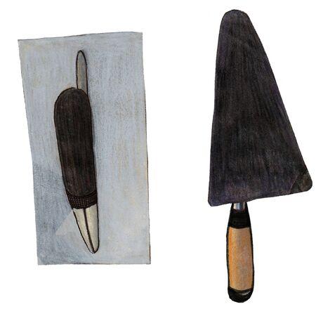 illustrazione strumento matita colorata su uno sfondo bianco e una spatola levigante
