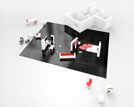 architectural plan: 3D view house on architect's drawing. Background image is my own. Stock Photo