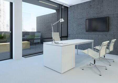 A modern white office with concrete walls photo