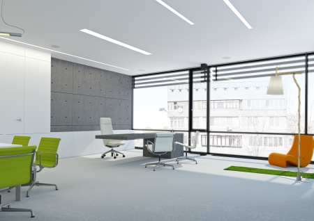 Ventilation: A modern white office with large windows  and grass Stock Photo
