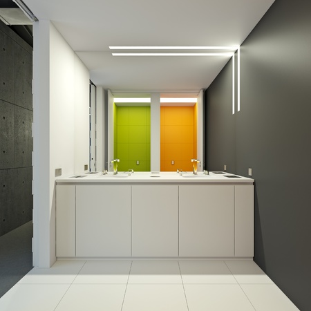 wc: WC in a modern office in bright colors Stock Photo