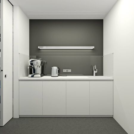 minimalist interior: Kitchen in a modern office in white color Stock Photo