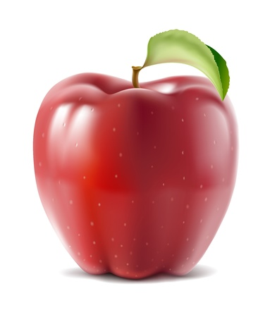 big apple: Big shiny ripe red apple with green leaf
