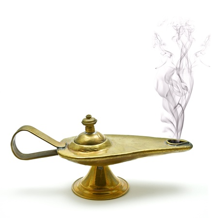 oil lamp: magic aladin lamp on a white background: 3 wishes free